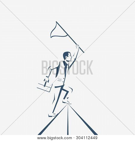 Silhouette Businessman Hold Flag On Top Of Mountain. Goal Achievement. Mountain Peak As A Symbol Suc