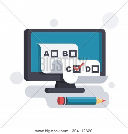 Online Test. Checklist And Pencil On A Computer Monitor. Online Form Survey. On-line Questionnaire.