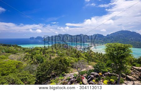 Phi Phi Island Amazing View Point , Tropical Islands Phi Phi Don And Phi Phi Leh In Sea. Crabi, Thai