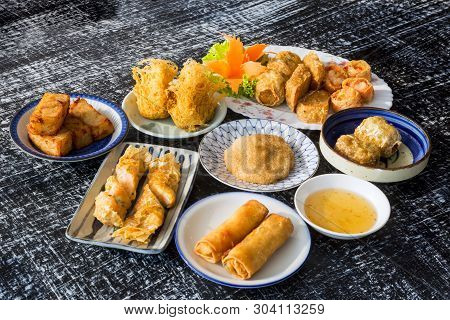 The Spring Rolls With Shrimps And Vegetables
