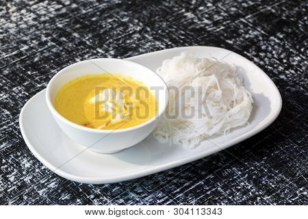 Yellow Curry With Crab And White Noodle, Famous Traditional Food Thailand.