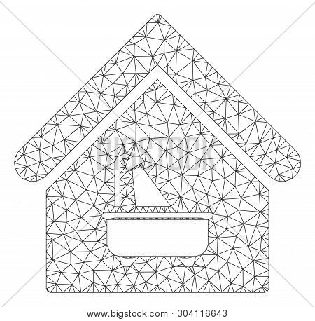 Mesh Bathroom Model Icon. Wire Carcass Polygonal Mesh Of Vector Bathroom Isolated On A White Backgro