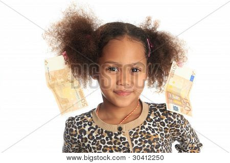 African American Child With Asiatic Black Money Euros On Hair