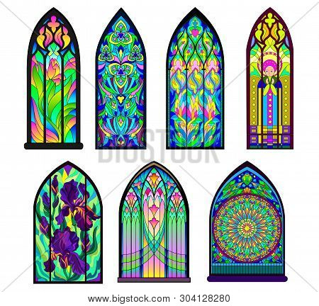 Gothic Architectural Style With Pointed Arch. Set Of Different Beautiful Colorful Stained Glass Wind