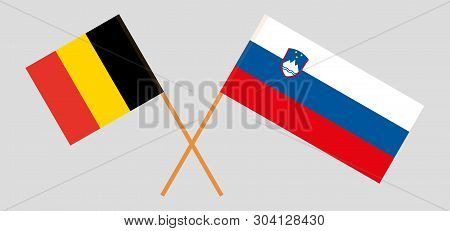 Slovenia And Belgium. The Slovenian And  Belgian Flags. Official Colors. Correct Proportion. Vector