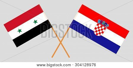 Croatia And Syria. The Croatian And Syrian Flags. Official Colors. Correct Proportion. Vector Illust
