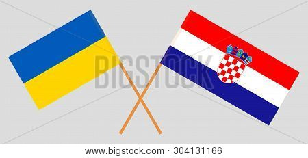 Croatia and Ukraine. The Croatian and Ukrainian flags. Official colors. Correct proportion. Vector illustration poster