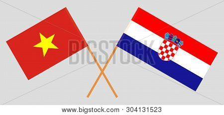 Croatia and Vietnam. The Croatian and Vietnamese flags. Official colors. Correct proportion. Vector illustration poster