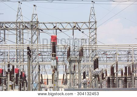 Power Station, Electrical Power Plant Facility Industry. Power Station For Making High Voltage Elect