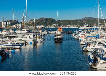 Bodo, Norway - May 22, 2019: View Of The Marina And Sailing Boats. Yacht Port Located In The Port Of