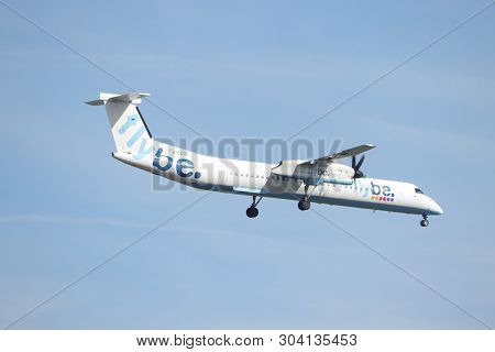 Amsterdam, The Netherlands - May 30th 2019: G-ecor Flybe De Havilland Canada Dhc-8-400 Final Approac