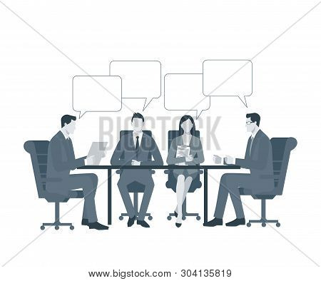 Business Meeting, Signing A Contract. Businessmen In Business Suits Are Sitting At A Table In The Of