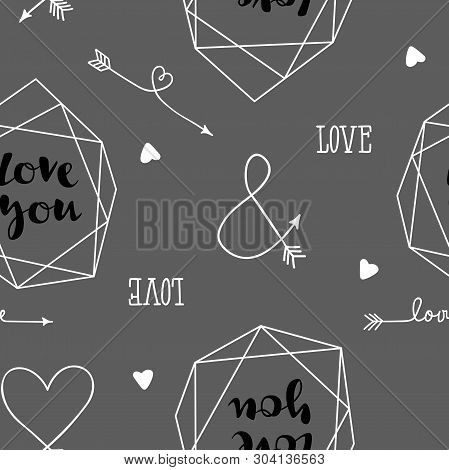 Seamless  Background With Hearts, Arrows, Ringlets, Flowers, Love. Illustration For Fabric, Scrapboo