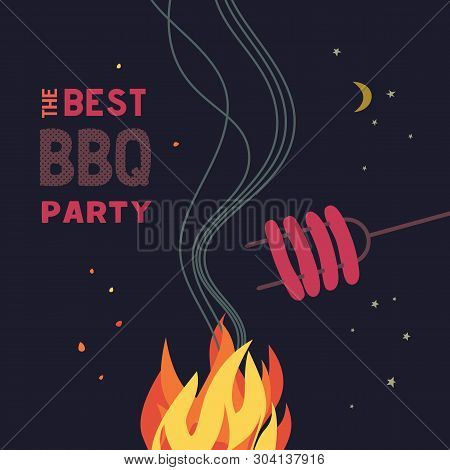 Bbq Grilled Sausages Flat Hand Drawn Vector Color Icon. Barbecue Design Element. Grilling Pork Sausa