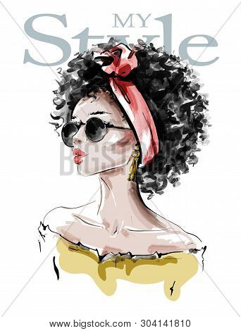 Hand Drawn Beautiful Young African American Woman With Afro Hairstyle. Stylish Black Skin Girl In Su