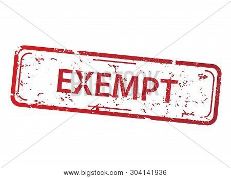 Rectangle Red Stamp With The Words Exempt On White Background