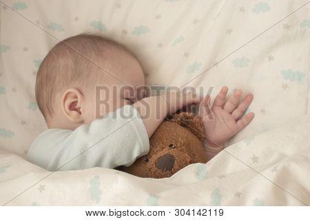 Newborn Baby Child Asleep Hugging A Bear. Sleeping Baby Girl Boy Hid His Nose In A Teddy Bear. Close