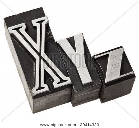 xyz - three last letters of alphabet (or Cartesian coordinates system) in vintage letterpress metal type