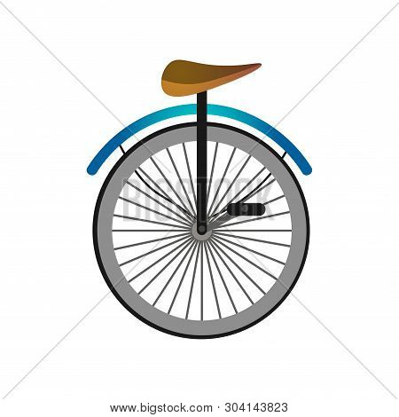 One Wheel Circus Bicycle With Metal Pedals And Seat