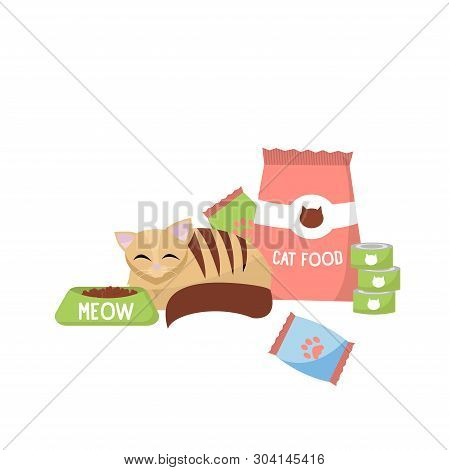 Cat With Cat Foods Concept. Cat Next To Packing Cat Food And Cans. Flat Vector Cartoon Illustration