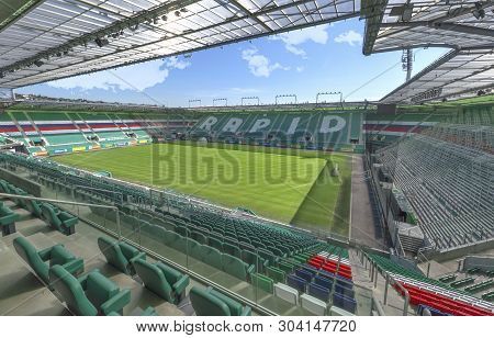 Vienna, Austria - September 2018:  View On Allianz Stadion On A Sunny Day