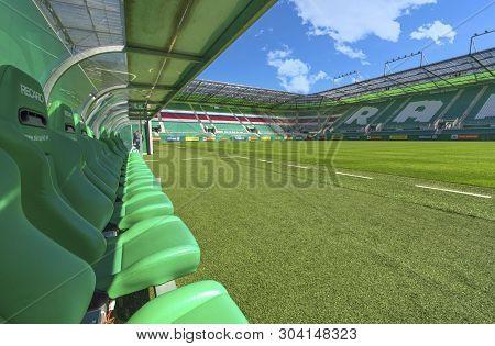 Vienna, Austria - September 2018: Staff Bench At The Field In  Allianz Stadion