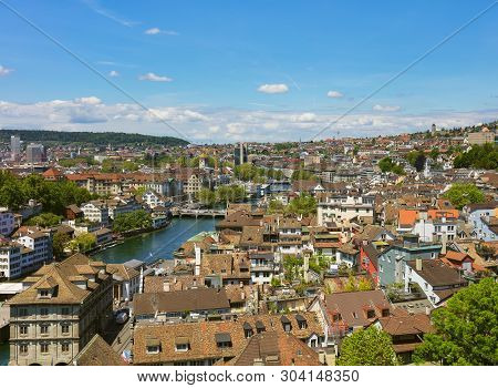 Zurich, Switzerland - May 31, 2019: The City Of Zurich As Seen From The Tower Of The Famous Grossmun