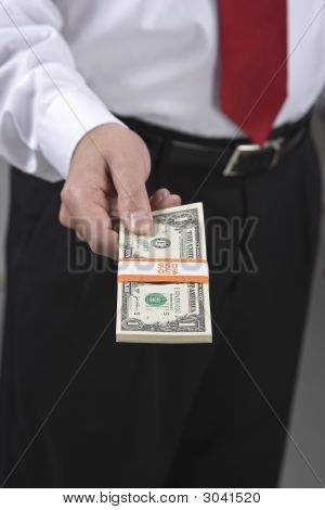 Man With Bundle Of Cash