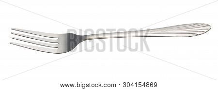 Fork  Isolated On White Background. Metal Fork.   Vintage Fork  Cutlery Top Side View