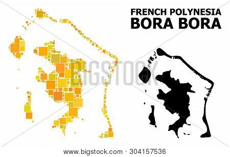 Gold Square Mosaic And Solid Map Of Bora-bora. Vector Geographic Map Of Bora-bora In Yellow Golden C