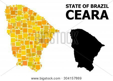 Gold Square Pattern And Solid Map Of Ceara State. Vector Geographic Map Of Ceara State In Yellow Gol