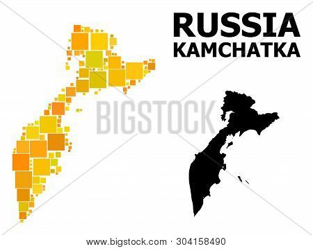 Gold Square Mosaic And Solid Map Of Kamchatka Peninsula. Vector Geographic Map Of Kamchatka Peninsul