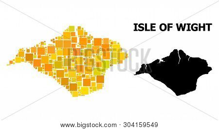 Gold Square Mosaic And Solid Map Of Isle Of Wight. Vector Geographic Map Of Isle Of Wight In Yellow
