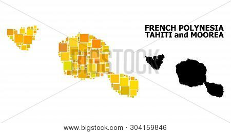 Gold Square Pattern And Solid Map Of Tahiti And Moorea Islands. Vector Geographic Map Of Tahiti And