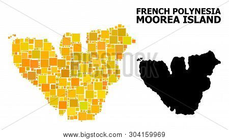 Gold Square Pattern And Solid Map Of Moorea Island. Vector Geographic Map Of Moorea Island In Yellow