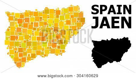 Gold Square Mosaic And Solid Map Of Jaen Spanish Province. Vector Geographic Map Of Jaen Spanish Pro