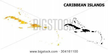 Gold Square Pattern And Solid Map Of Caribbean Islands. Vector Geographic Map Of Caribbean Islands I