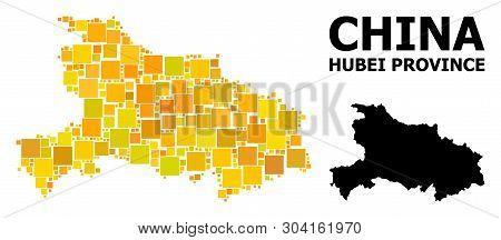 Gold Square Mosaic And Solid Map Of Hubei Province. Vector Geographic Map Of Hubei Province In Yello