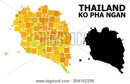 Gold Square Mosaic And Solid Map Of Ko Pha Ngan. Vector Geographic Map Of Ko Pha Ngan In Yellow Gold