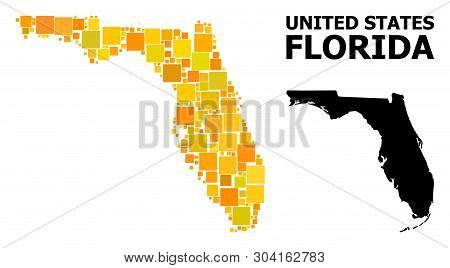 Gold Square Mosaic And Solid Map Of Florida State. Vector Geographic Map Of Florida State In Yellow