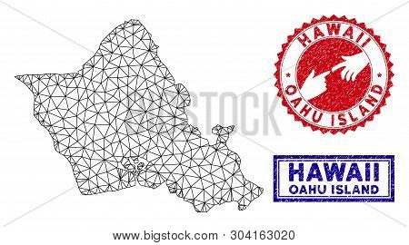 Network Polygonal Oahu Island Map And Grunge Seal Stamps. Abstract Lines And Points Form Oahu Island