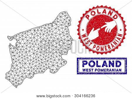 Mesh Polygonal West Pomeranian Voivodeship Map And Grunge Seal Stamps. Abstract Lines And Small Circ