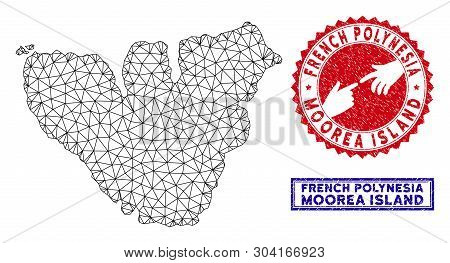 Network Polygonal Moorea Island Map And Grunge Seal Stamps. Abstract Lines And Spheric Points Form M