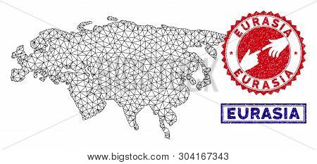 Wire Frame Polygonal Eurasia Map And Grunge Seal Stamps. Abstract Lines And Small Circles Form Euras