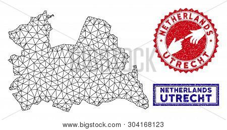 Network Polygonal Utrecht Province Map And Grunge Seal Stamps. Abstract Lines And Small Circles Form