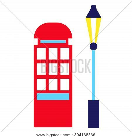 Red Phonebox Geometric Illustration Isolated On White. London City Decoration Series.