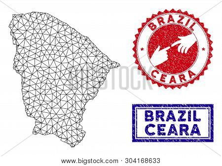 Network Polygonal Ceara State Map And Grunge Seal Stamps. Abstract Lines And Circle Dots Form Ceara