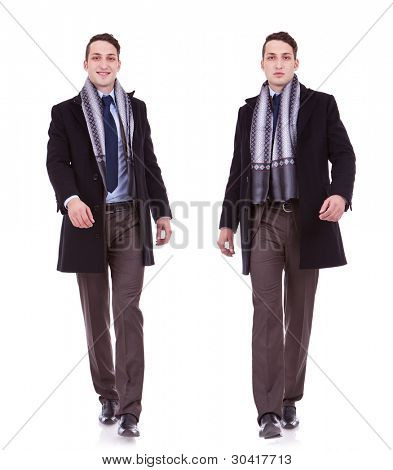 young business man full body walking on white  background . businessman in autumn or spring clothes walking. two images of a walking business man: one when is smiling ang one when is serious