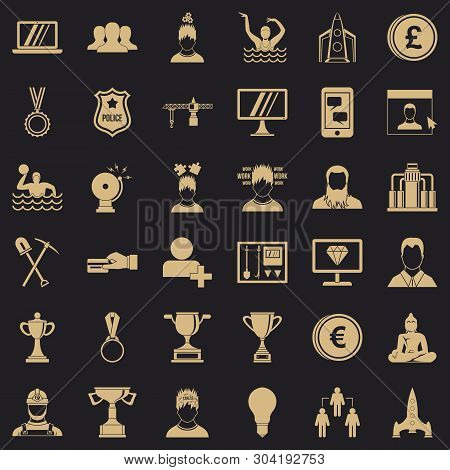 Leadership Icons Set. Simple Style Of 36 Leadership Vector Icons For Web For Any Design