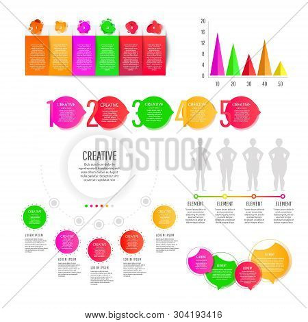 Modern Creative Infographics Elements Collection. Gradient Objects With Numbers And Text, Timeline I